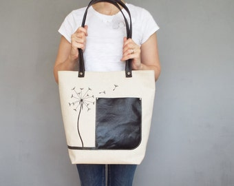 Canvas leather tote bag. Embroidery canvas carry all tote. Dandelion canvas beach / shopping bag.