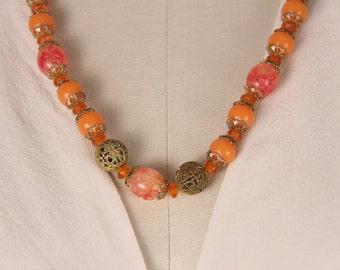 """Vintage 1960s orange pink gold necklace gifts for her 22 1/2"""""""