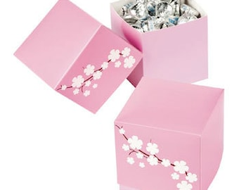 Pink Cherry Blossom Favor Box Boxes - Package of 12 -