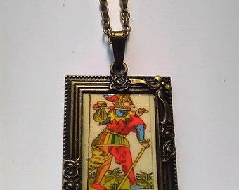 tarot card bronze fool pendant cabochon necklace cabochon