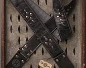 "Weathered Deuce Series 2"" black leather guitar strap"