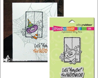 Halloween Stamps - Hang Out Spider Set cling rubber image and verse stamp set - CRS2043 Stampendous Retired