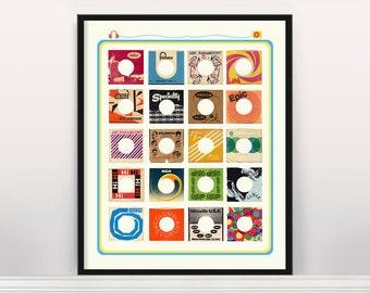 Vinyl Art Typology - 45 RPM Record Sleeve Design - Mid Century Art - Vinyl Art - Vinyl Poster - Record Poster - Record Wall Art - Records