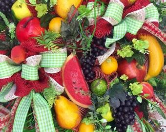Premium Summer Fruit Garden Mesh Wreath