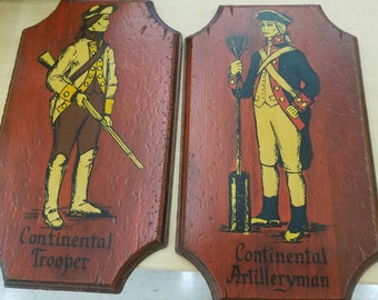 Set of 2 Revolutionary War Soldiers / Continental Soldiers Plaques