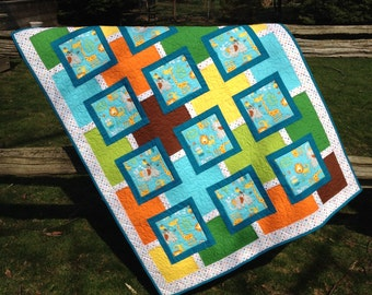 """Modern Child/Baby Quilt, """"Safari"""" Quilt, Giraffe Elephant Lion Monkey Quilt, Turquoise Quilt, Colorful Child Quilt, Quiltsy Handmade Quilt"""