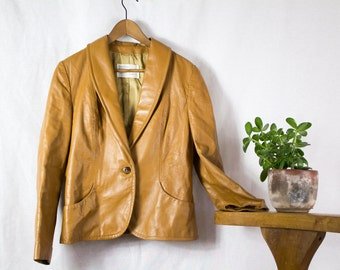 Leather Camel Colored Blazer