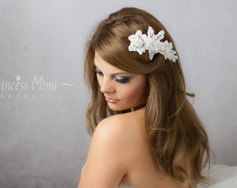 Bridal Vintage Headpiece Lace Haircomb Lace Comb beaded with Pearls  in Ivory, Bohemian Head Piece, Wedding Lace Headpiece