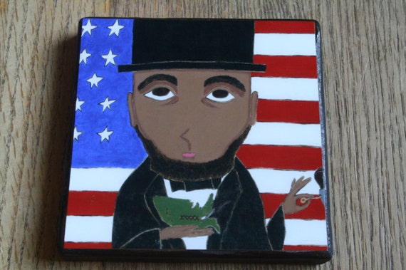 President Abrahan Lincoln 4 X 4 inch Icon Print on Wood