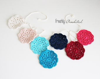 Crochet flower garland, MADE TO ORDER