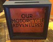 OUR MOTORCYCLE ADVENTURES Ticket Stub Shadow Box, Motorcycle Gift, Admit One, Gifts for motorcyclist, Harley riders, Harley Davidson