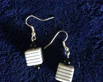 Black and white box earrings