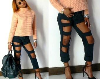 Jean destroy black, ripped black jeans, jean holed black, jean holed stylish, custom black jeans, jean destroy fashion, jean destroy original,