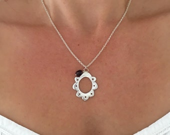 Silver scalloped pendant / necklace with garnet stone bead