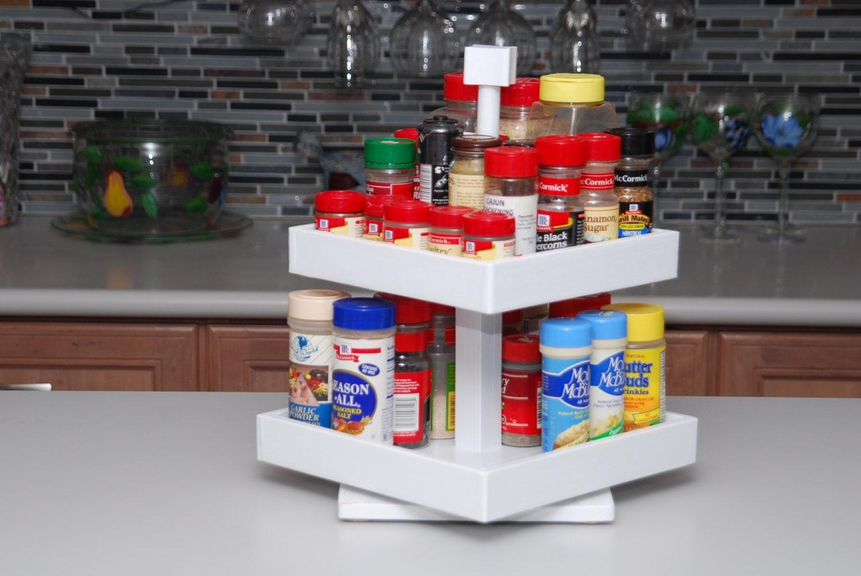 Countertop Spice Organizer : Spice Rack Rotating Storage Organizer 2 Tier