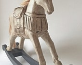 Wooden Carved Hand Painted Rocking Horse, French Style Tabletop Horse with Hair