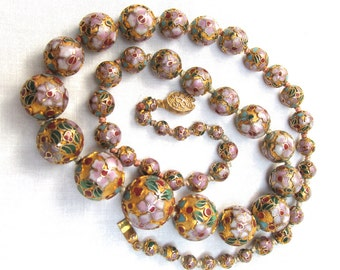 Cloisonne Necklace Graduated Floral Chinese Beads w Fancy Clasp