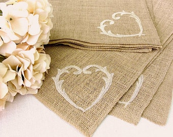 Rustic Burlap Table Topper Wedding Table decor Vintage Gold Heart Embroidery Holliday Decor , Handmade in the USA