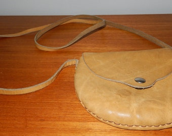 Vintage Genuine Leather Cross-Body Pouch from the 1960s