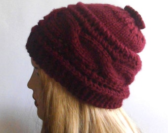 Hand Knit Hat Burgundy Red. Wool Hat. Winter Women Hat.