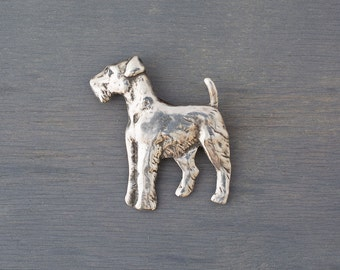 Vintage Sterling Silver Dog Brooch - Silver Schnauzer Pin - Dog Lover Gift - Birthday Gift