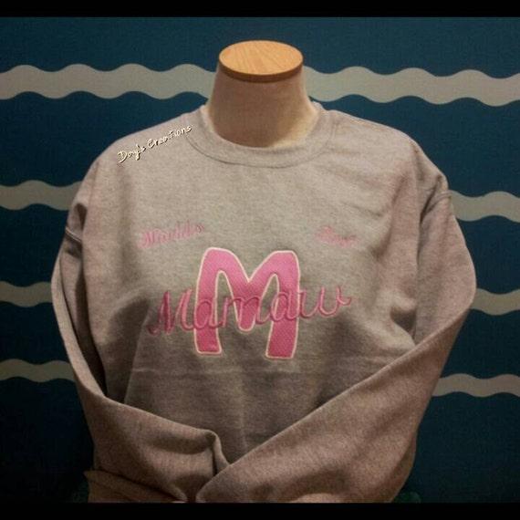 Mamamu sweatshirt - crew neck custom grandparent sweatshirt - embroidered worlds best mamamu sweatshirt - grandparent gift