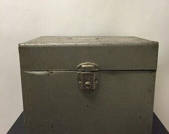 Salvaged Green Metal File Box