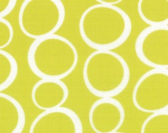 OOAK #18 x 44 - Mixed Bag Bubbles Lime Green Brushed Cotton Fabric by Studio M - 32866 21B