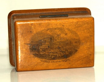 Antique Vintage Terrace Crystal Palace Stamp Box MAUCHLINE WARE