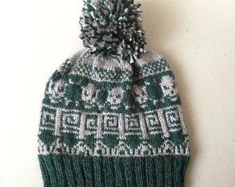 Handknit Nordic Skull Hat