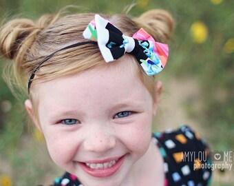 Melanie Headband - Melanie Clip - Melanie Baby Bow -  Black and White Stripe Newborn Bow - Black and White Stripe Headband