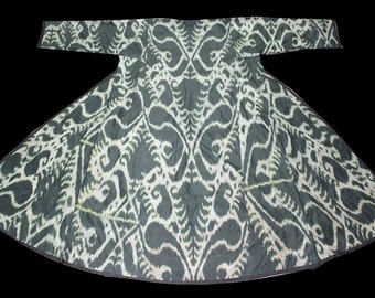 19th century silk on silk Uzbek Ikat Chapan (Coat)