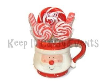 Christmas Candy Filled Mug, Christmas Candy Mug, Santa Candy Mug, Lollipop Christmas Gift, Candy Christmas Gift, Santa Mug, Christmas Mug