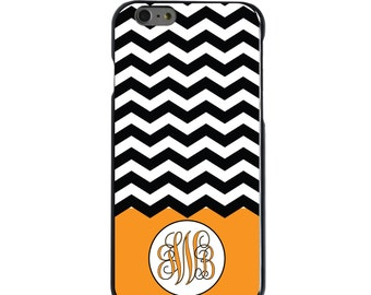 Hard Snap-On Case for Apple 5 5S SE 6 6S 7 Plus - CUSTOM Monogram - Any Colors - Black White Chevron Orange Initials