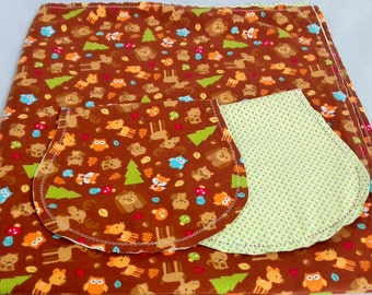 Forest Animals, Bears Owls and Birds with Green Backing Hemstitched Baby Blanket and Burps ready for you to crochet by Lindas Hemstitching