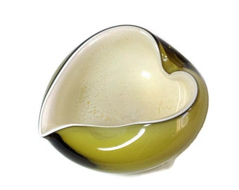 Mid Century Modern Funky Olive Green Glass Vessel Ashtray, Art Glass Heavy Thick Hand Blown Heart Glass Gold Specks, Creamy White & Green