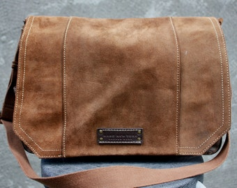 Vintage MARC NEW YORK by Andrew Marc Large Canvas/Suede Brown Crossbody/Shoulder Bag
