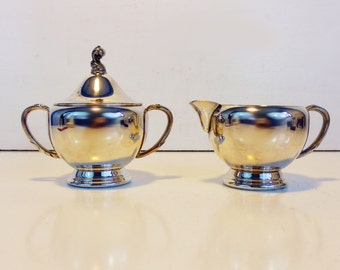 Sugar Creamer Vintage Wm Rogers Silverplate Set - Retro Silverplate Sugar Creamer w/ Feather Design Accents - Kitchen Serving