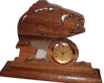Bass Desk Clock, Fish Art, Fish Decor, Wildlife, Rustic, Home Decor, Unique Clock, Table, Mantle, Sculpture, Office Clock, Decorative Clock