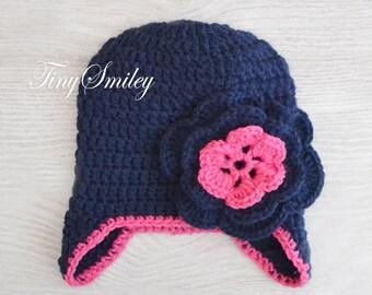Navy Baby Girl Hat, Baby Girl Ear Flap Hat, Earflap Baby Girl Crochet Hat, Navy Baby Hat, Baby Girl Hats, Infant Hats, Newborn Hat