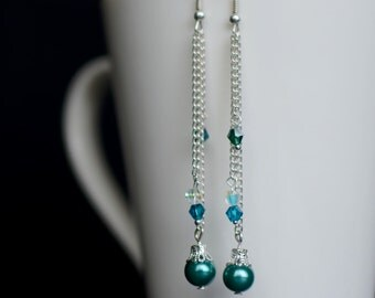 Long Dangle Earrings, Silver Earrings, Bridesmaid Gift, Long Pearl Earrings, Teal Blue Pearl Earrings, Gift for Her, Pearl Drop Earrings