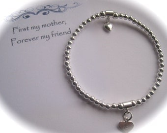 Serenity Mother - Sterling Silver  puffed heart and stamped heart Bead Stretch Bracelet