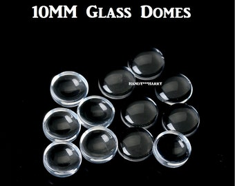 100) OR 200) Crystal Clear Glass Domes 10MM Clear Glass Cabochon Transparent Glass Domes Round Cameo Cover Cabs Scrapbook Scrapbooking