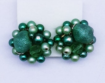 Vintage Retro Green Grey Bead Clip Earrings - High Texture