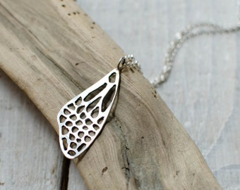 Silver necklace solid Butterfly 35 mm, nature, wing, spring, romantic