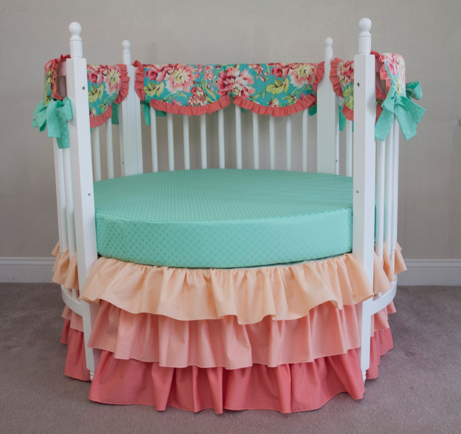 Floral Aqua Teal And Coral Baby Girl Round Crib Cot