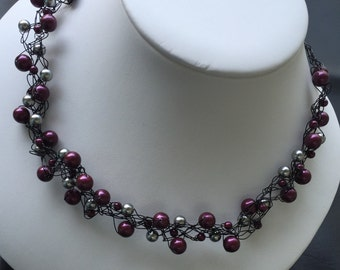 Blackberry and grey pearl crotched necklace