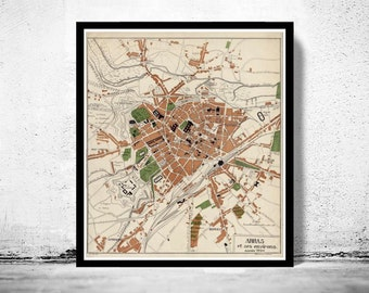Old Map of Arras  France 1924