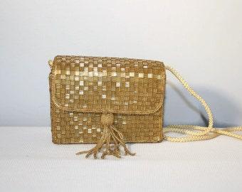 Gold Beaded Magid Handbag, Vintage Box Purse Tassel, Evening Bag