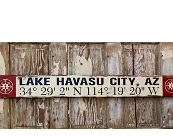 Personalized GPS Coordinate Sign.  Distressed Rustic Wood Sign  5.5x48.  Can be customized to your favorite town, home or business address.